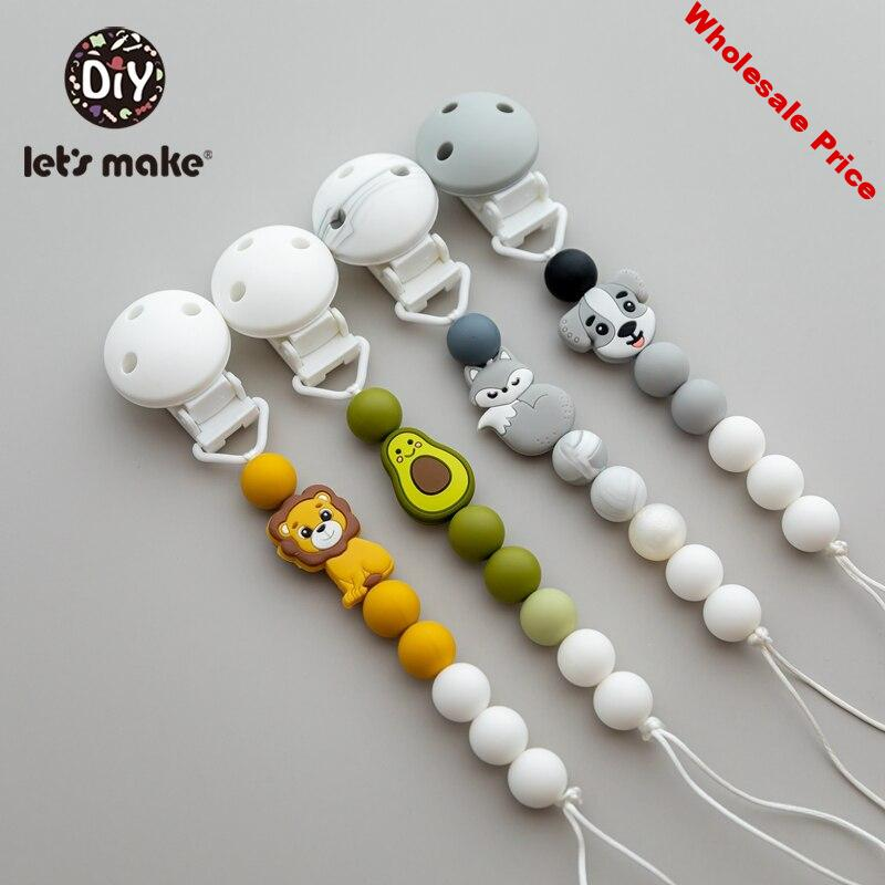 Let'S Make 5pc Nipple Chain Baby Toys Silicone Animal Pacifier Chain Personalized Pacifier Clip For Nipples For New Born Baby