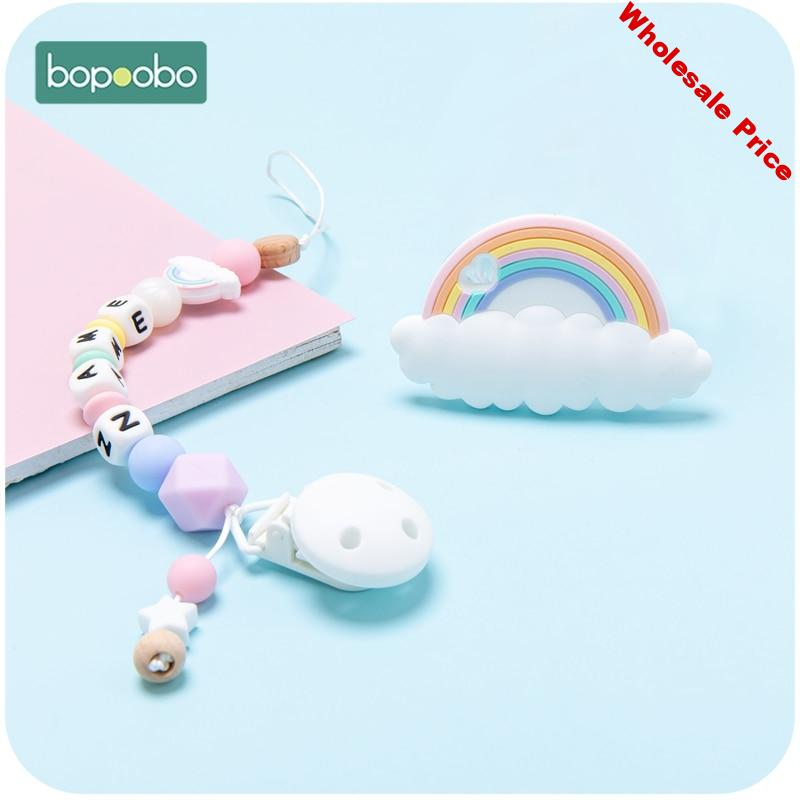 Bopoobo Personalize Pacifier Clip Chain Holder For Nipples 1pc Silicone Baby Pacifier Chain Custom Silicone Letter Pacifier