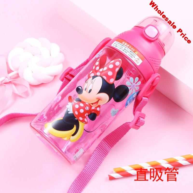 350-500ML Disney Baby Straw Bottle Water Cup Boys Girls Learning Drink Water Strap Handle Cute Babies Baby Mickey Minnie Cup