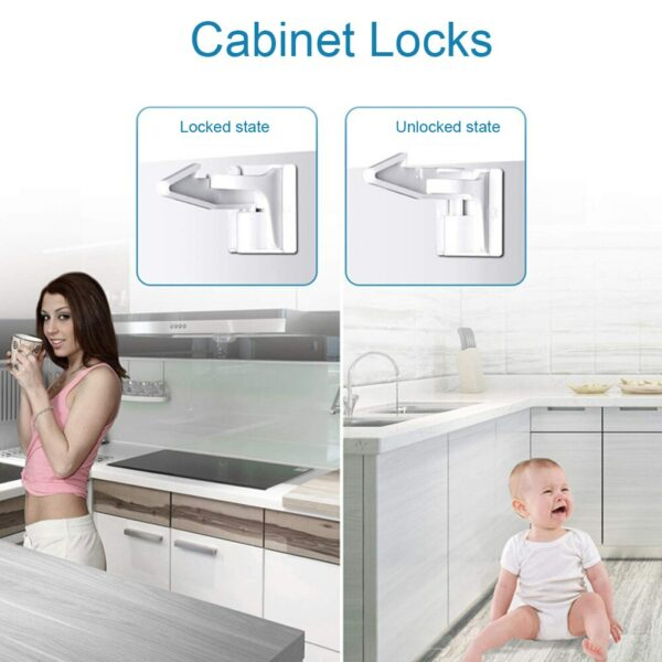 10pcs/set Drawers Cabinet Locks Wardrobe Baby Proof Home Countertop Overhangs Closet Safety Latch Kids Children Highly Secure