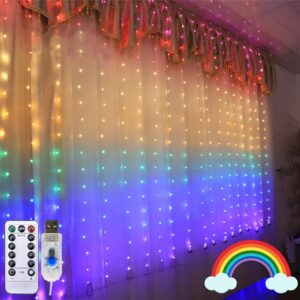 1.5x2m LED Rainbow String Lights Christmas Curtain String Fairy Lights garland For Wedding Party Window Decor USB Remote Control