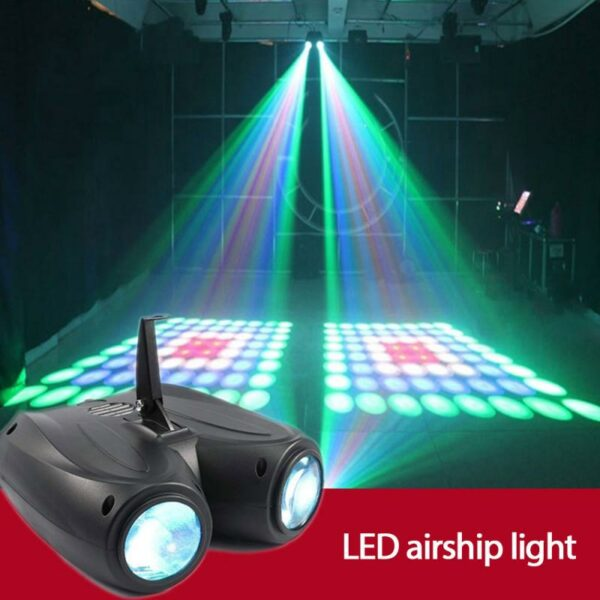 Sound Control Double Airship Stage Light KTV Pattern Light Nightclub Flashing Light Double Head Beam Light Indoor Lighting