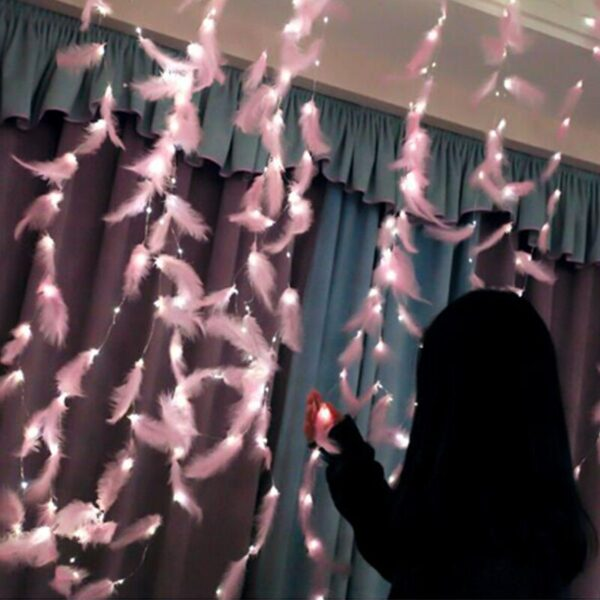 Feather Led Light String Fairy Light Holiday Christmas Wedding Party decoration Light Garland On The Window Remote 8 Modes