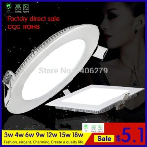 Ultrathin 3w4w6W 9W12W15W18W white/warm white LED Ceiling Recessed Grid Downlight / Slim Round/Squre Panel Light