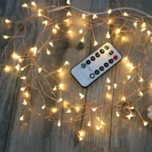 Remote Control Cluster String Lights Bedroom Wedding Table Party Led Decoration Lights Copper Wire Fairy Christmas Tree Lights