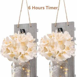 Rustic Wall Sconces-Mason Jars Sconce Home Decor Wrought Iron Hooks Silk Hydrangea and LED Strip Lights Decoration (Set of 2)