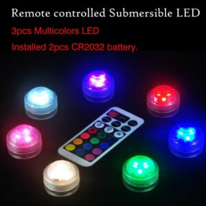 10pcs Newest Product Remote Controlled 3-LEDs Submersible LED Floralyte Light For Wedding party vase centerpeices Decoration
