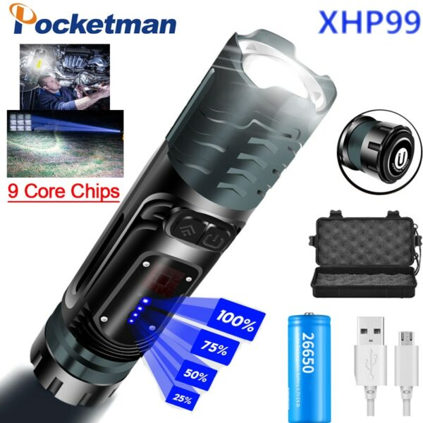 Super Powerful XHP99+COB LED Flashlight With Hammer Self-Defense LED Torch Multifunctional Tactical Flashlight Hunting Lantern