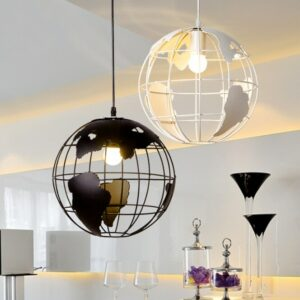 Pendant Light 28cm Black/White Creative Globe Earth Iron Pendant Lamp Edison Bulb for Kitchen Dining Room Restaurant Decoration