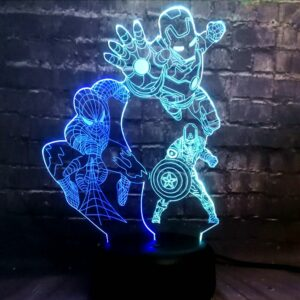 Avengers Marvel Super Hero Spider Captain America Iron Man LED Mixed 7 Color Charge Baby Sleep Night Lamp Fans Friends Fun lamp