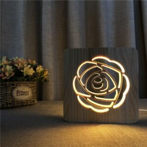 Wooden Rose Shape Night Lamp 3D LED Night Lights for Valentine's Gift Creative Warm White Bedroom Decoration Table Lamp