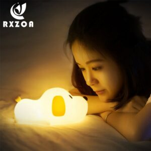 Dropship Cartoon LED Night Lights Beside Lamp Touch Control Adjustable Brightness Safe Timer Setting for Kid Children Bedroom