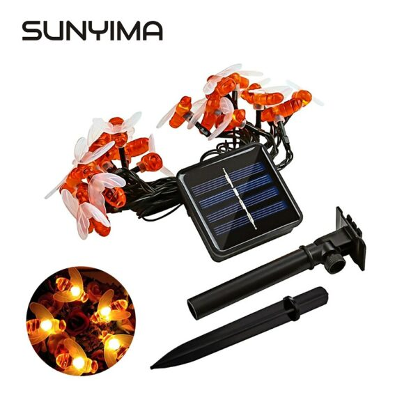 SUNYIMA Solar LED String Light Outdoor Christmas Garland Lights  Honey Bee waterproof Fairy Party Garden Light Lawn Lamp