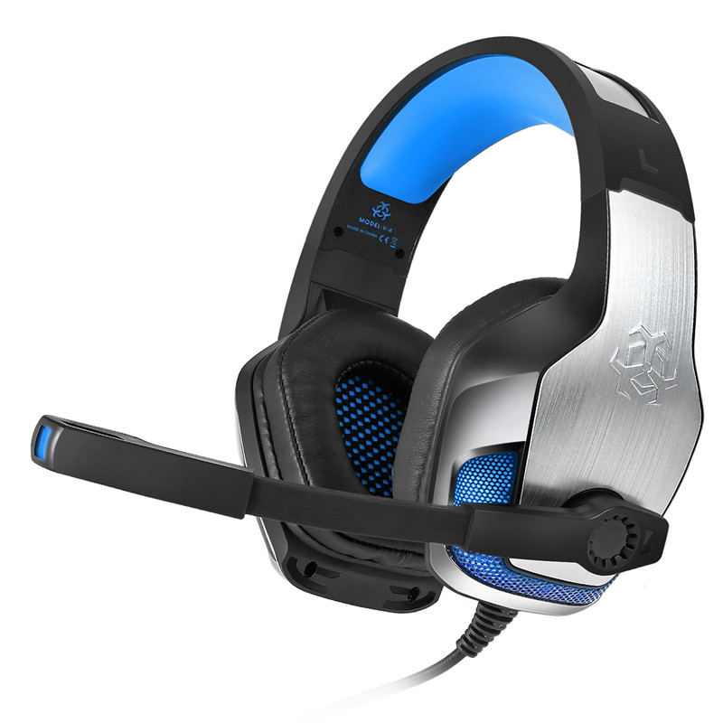 V4 3.5mm Wired Control Lighting Gaming Deep Bass Headphone Noise Cancelling Metal Headset With Mic