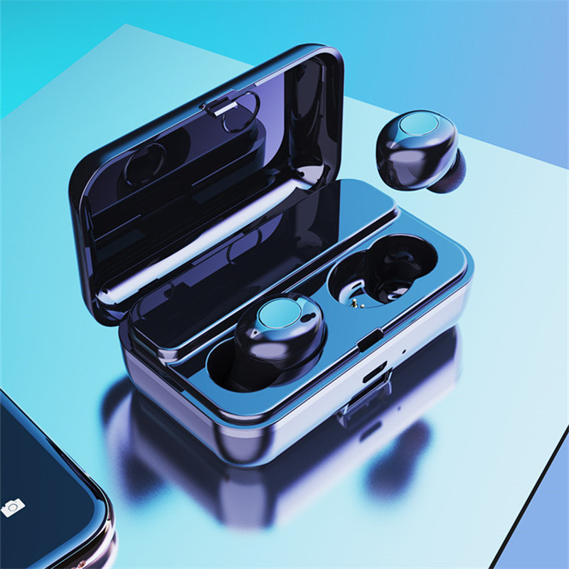 F9 TWS Dual bluetooth 5.0 Wireless Stereo Earphone IPX5 Waterproof Button Touch Auto Pair Gaming Headphone with 2000mAh Power Bank for