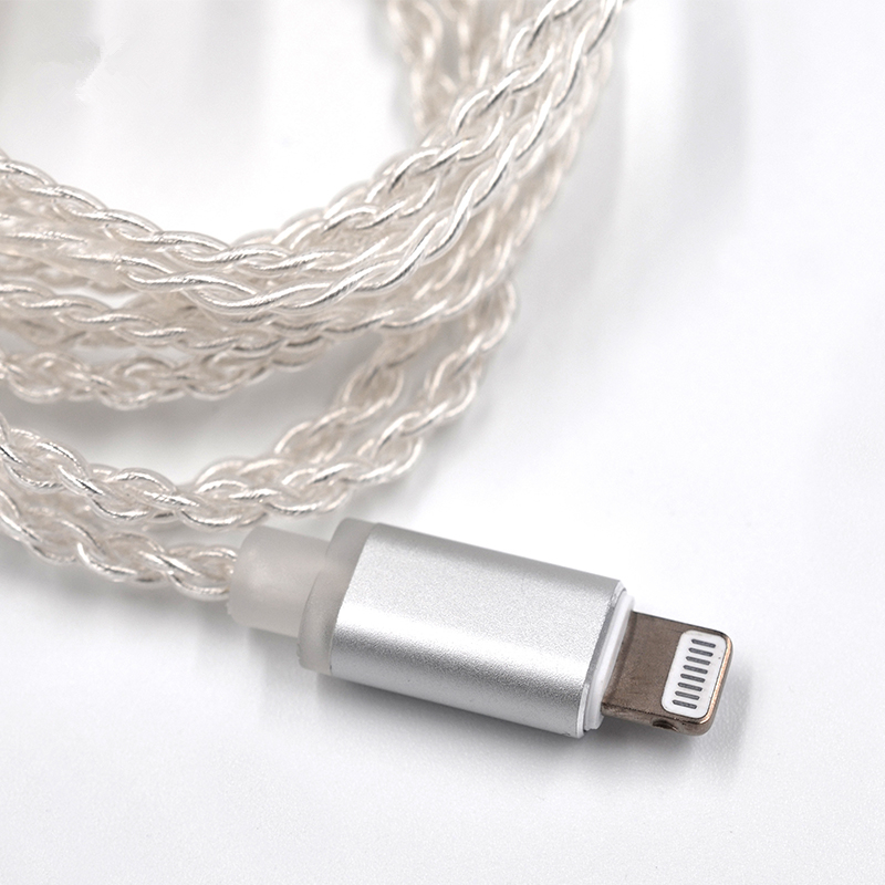 KZ Earphone Silver Plated Upgrade MFI Lightning Compatible Cable for KZ ZS6 ZSA ZS10 AS10 for iPhone 8 Plus 7 X