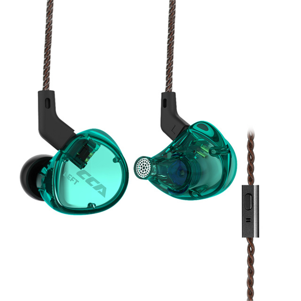 CCA C04 3.5mm In Ear Balanced Armature Dynamic Dual Drivers Earphone HiFi Music Sports With Mic Detachable Cable