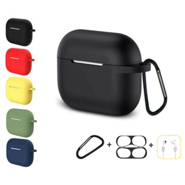 Bakeey 4 in 1 Silicone Shockproof Anti-drop Earphone Storage Case with keychain + Anti-lost Strap + Dust-proof Metal Protective Film Sticker for Airpods Pro 2019