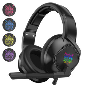 Onikuma K19 Single-Plug RGB Light-Emitting Gaming Wired Headphone Stereo Sound Headset With Microphone LED Audio Cable