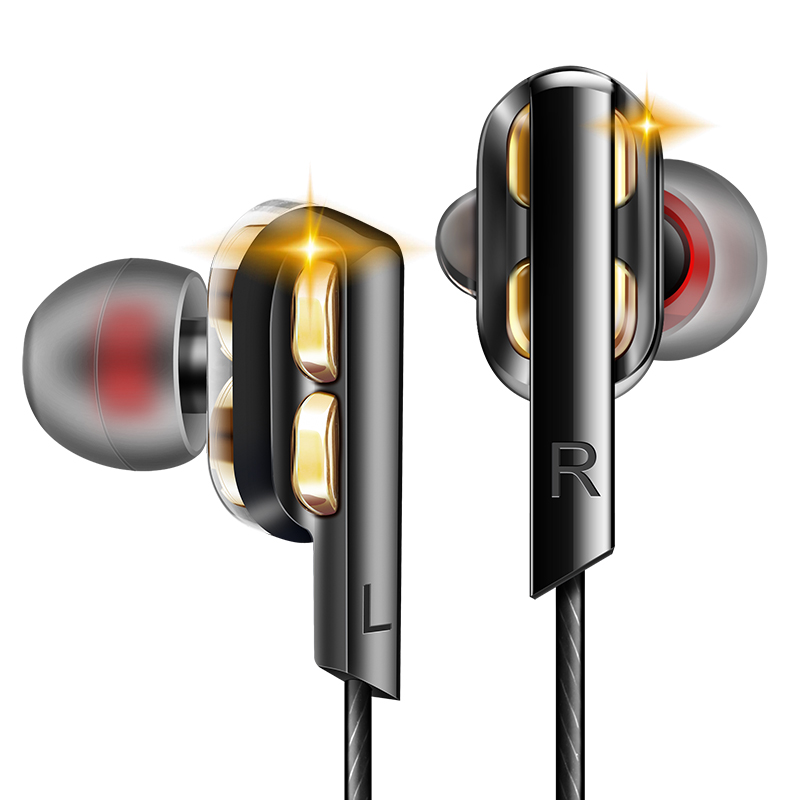 QKZ AK4 Metal Stereo Dual Dynamic Drivers Wired Earphone Super Bass In-ear Earbuds With Mic for Mobile Phone MP3 MP4