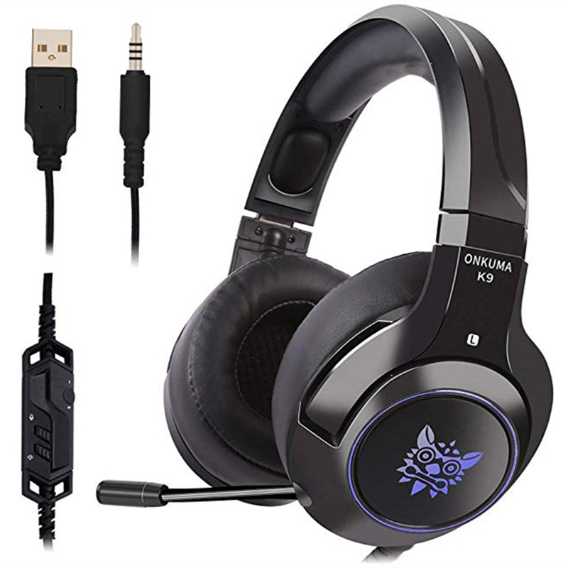 K9 Professional LED RGB Lighting Wired Headset Headphone Noise Cancelling With Mic For PS4 XBOX One