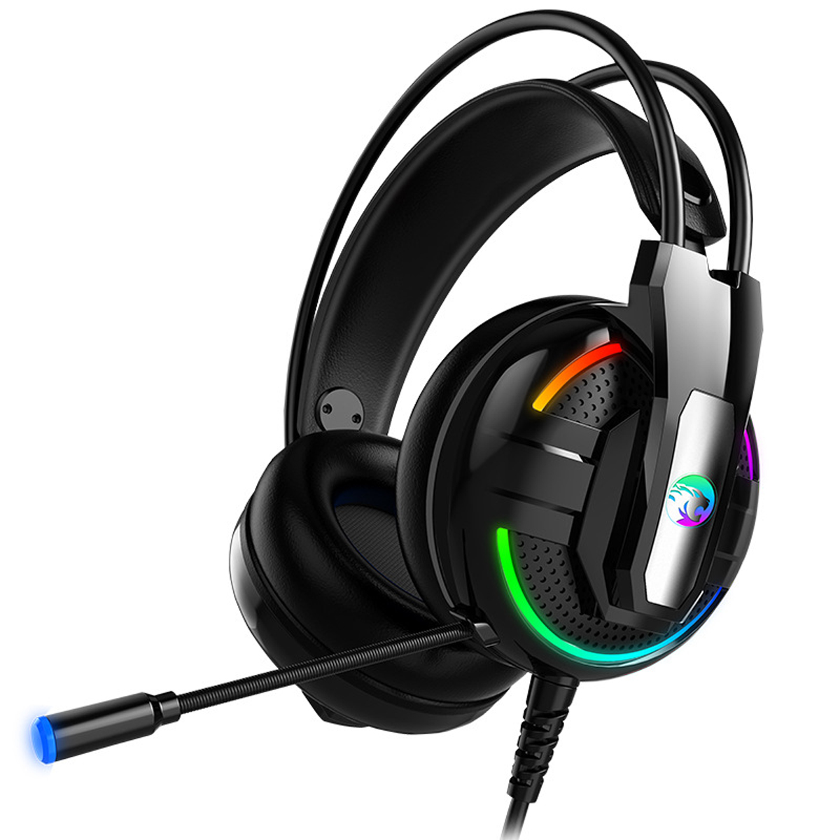A18 Colorful Luminous Gaming Earphone Stereo 3.5mm Wired Headset LED E-sports Headphone With Mic
