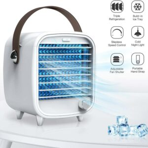 Mini Air Cooler Mini Portable Air Conditioner USB Home Office Purifier Night Light Cooling Fan