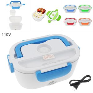 110V 1.5L Split-type Portable Food Warmer Heating Keeping Electric Lunch Box with Spoon / US Charging Line