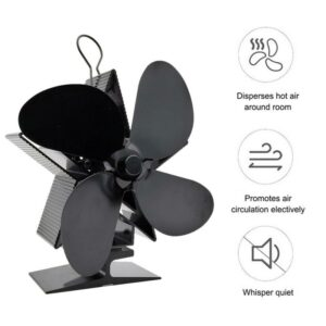 T1 4-Blade Stove Fan Eco Friendly Heated Fan Fireplace Fan For Wood Burning Ecological Fan