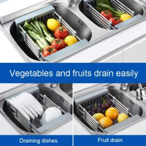 Fruit Vegetable Cutlery Drainer Stainless Steel Rack Drain Basket Telescopic Sink Rack Dish Rack Kitchen Organizer Cleaning