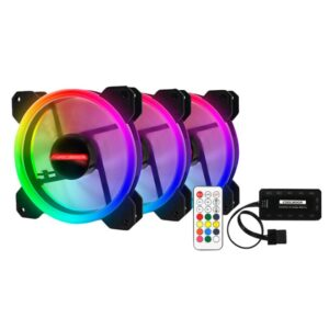 3pcs RGB 120mm 12V Cool Fashion solar eclipse Mute colorful PC Case System Cooling Fan
