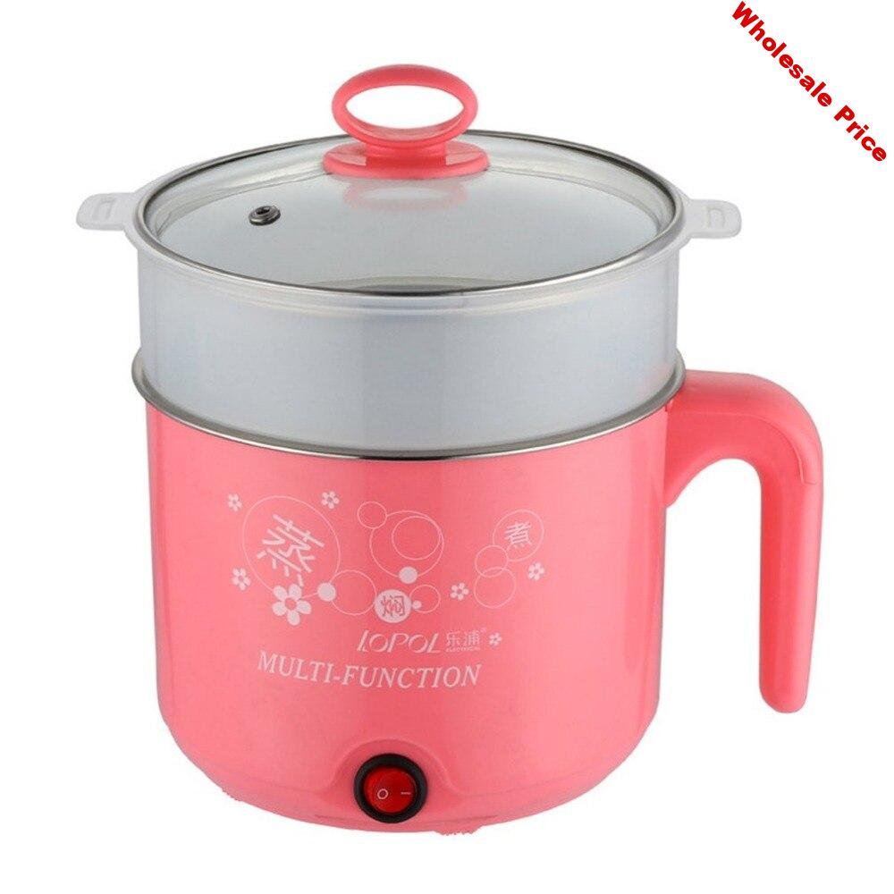 1.8L Electric Cooker with Steamer Hot Pot Multifunction Stainless Steel Noodles Pots Rice Cooker Steamed Eggs Pan Soup