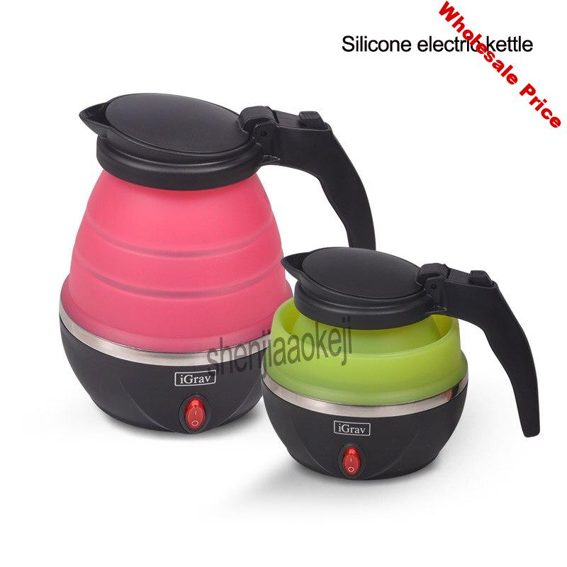 Upgrade Silicone electric kettle Folding Travel water kettle 220v Portable small capacity Stainless steel Mini  hot water kettle