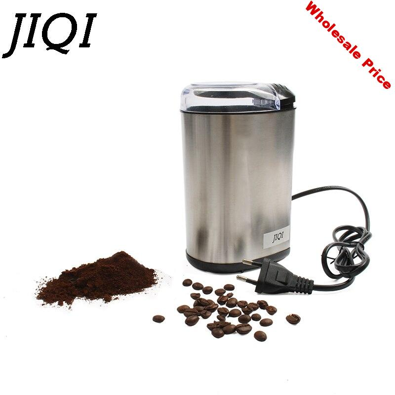 JIQI Electre Coffee Grinder Mill Herbs Nuts Powder Crusher Stainless Steel Blade Spice Grain Cafe Beans Dry Grinding Machine EU