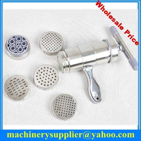 2015 hot sale manual pasta noodle press stainless steel noodle machine with 5 moulds
