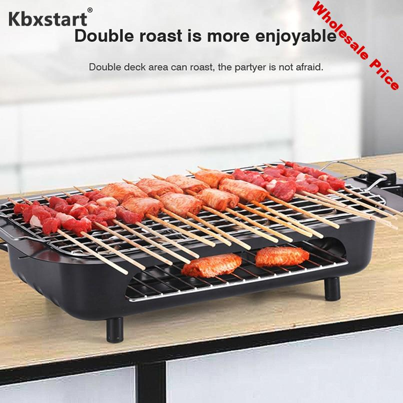 110V Multi-function Electric Grill Griddles Indoor Barbecue Fish Plate Churrasqueira Electrica BBQ Equipment Rotisserie Parrilla