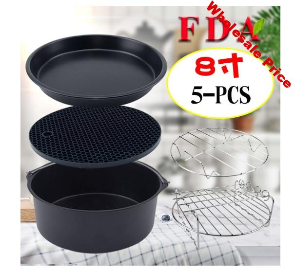 Frying Pan Accessories 5PCS/Set  8 inch Baking Plate Pizza Cake Grill Basket deep fryer spare parts grill net BBQ accessory