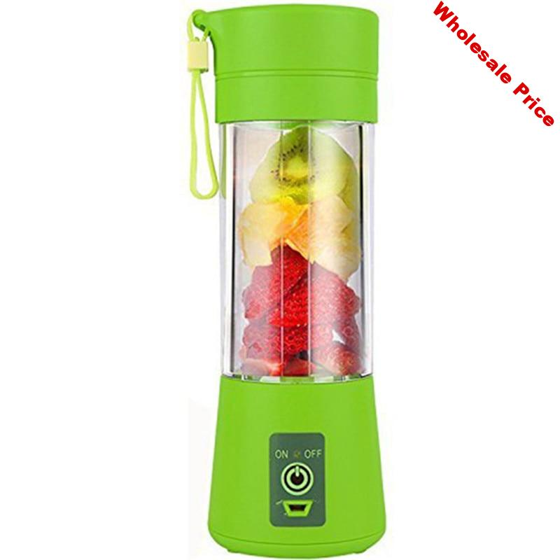 Hot Sale-400ml USB Juicer Cup Fruit Mixing Machine  Portable Juice Blender Household Fruit Mixer with Six Blades USB charging ca