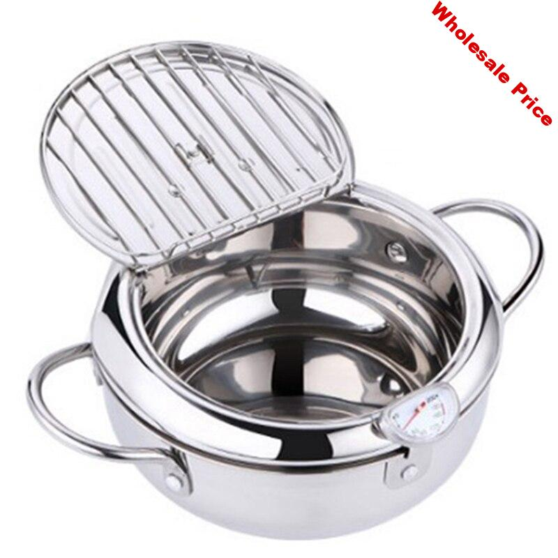 MOM's HAND Kitchen Deep Frying Pot Thermometer Tempura Fryer Pan Temperature Control Fried Chicken Pot Cooking Tools