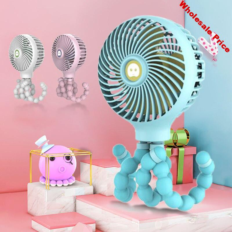 Mini Fan Folding USB Rechargeable Baby Car Bed Small Fan Handheld Octopus Shape Stand Portable Fan Cooler Student Use