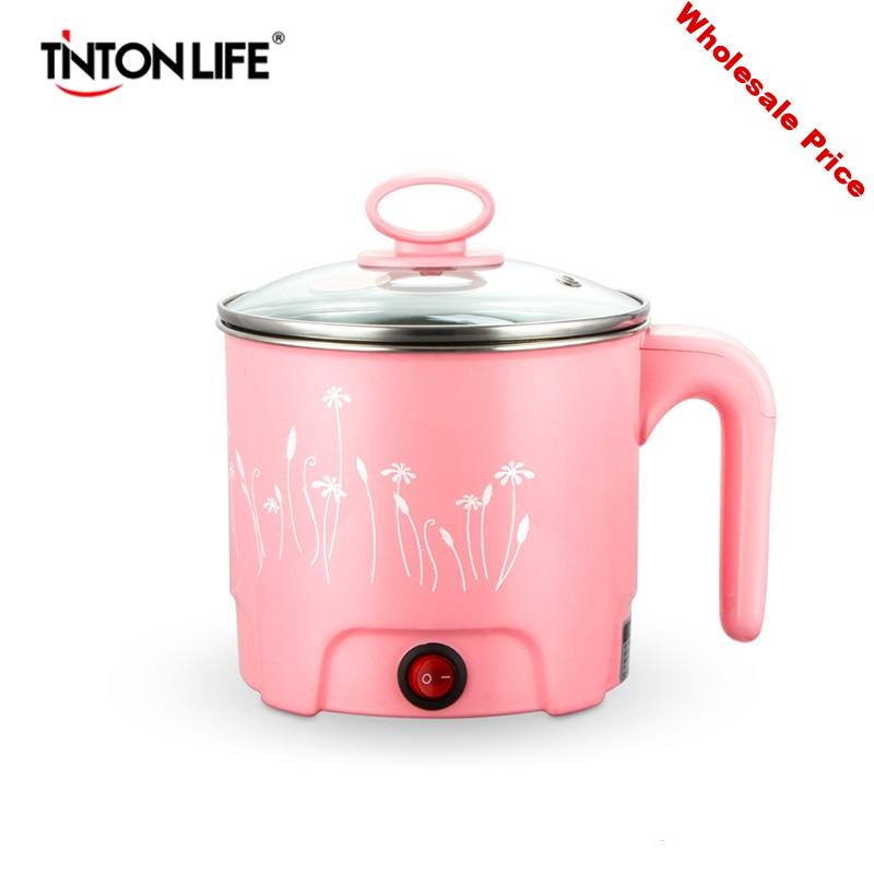 TINTON LIFE Multifunction Electric Skillet Stainless Steel Hot Pot Noodles Rice Cooker Steamed Egg Soup Pot MINI Heating Pan