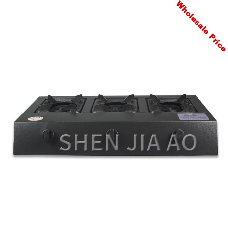 4kw kitchen three Stove gas cooktops natural gas / liquefied gas stainless steel panel gas cooker cooking appliances Commercial