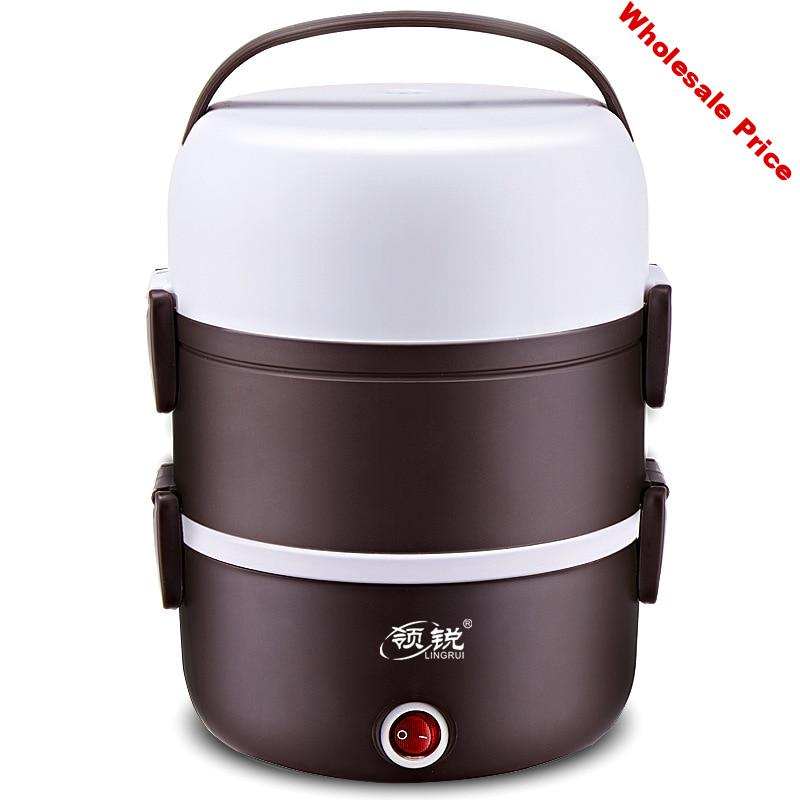 Multifunctional electric lunch box plug-in electric heating insulation cooking lunch box three-layer mini small rice cooker