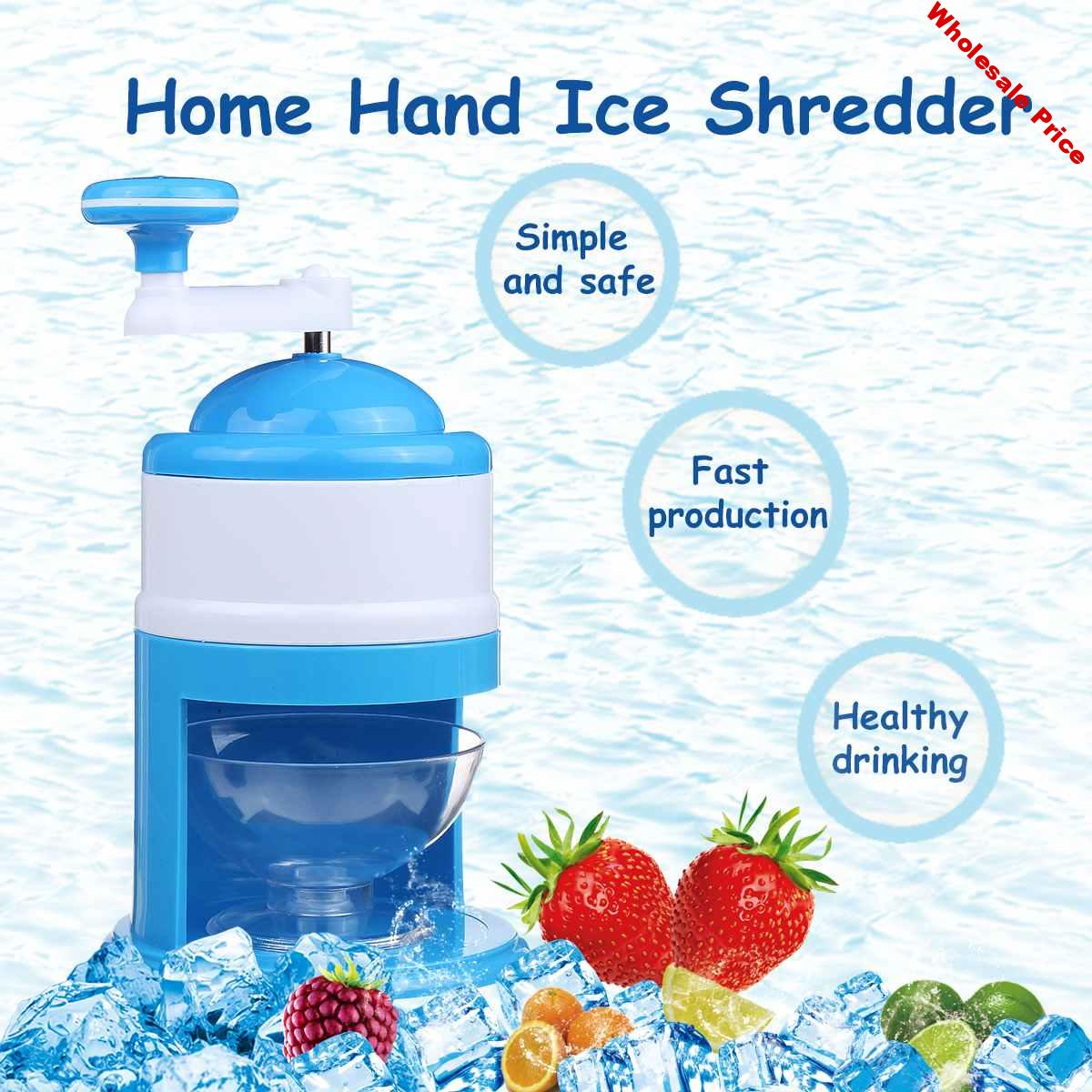 Home DIY Manual Ice Shaver Crusher Snow Maker Portable Slushy Sand Machine Shaved Ice Snow Cones Frozens Drinks Kitchen Tool