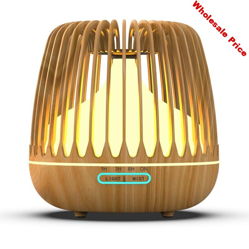 500ML Aroma Essential Oil Diffuser Ultrasonic Air Humidifier Wood Grain 7 Color Changing LED Lights Cool Mist for Home