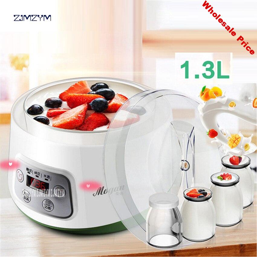 ZCW-S03 Fully Automatic Yogurt Makers Household Multifunctional White Natto Rice Wine Machine with Four Glass Liner Sub-cup 1.3L