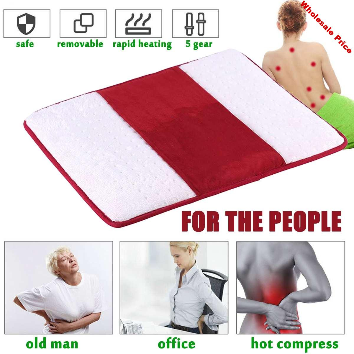220V Electric Heated Pad 5 Gear Heating Mat Adjustable Temperature Winter Warming Seat Cushion Carpet Neck Shoulder Pain Relief