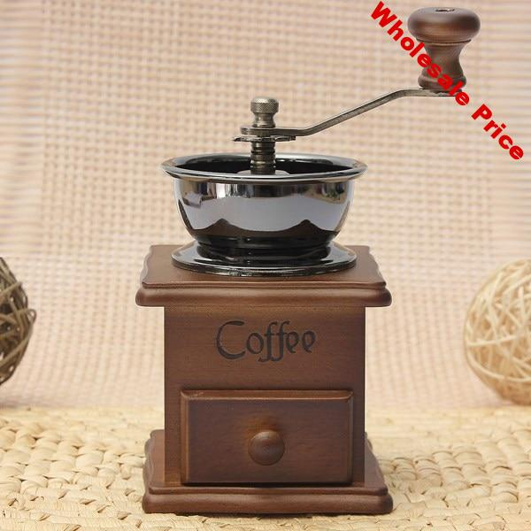 Coffee Grinder  Manual Coffee Mill Moedor De Cafe Wood Stand Bowl Antique Hand Coffee Bean Grinder Cafetera