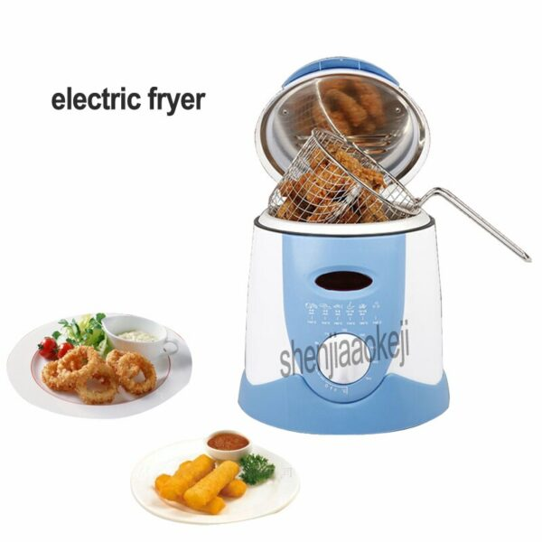 220V  1pc 0.9L Smokeless electric fryer frying pan Mini oil fryer oven French fries Grill Chicken Fried Fish Pot machine