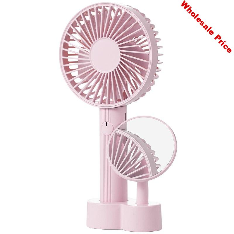 Hot TOD-Mini Portable Handheld Fan With Makeup Mirror
